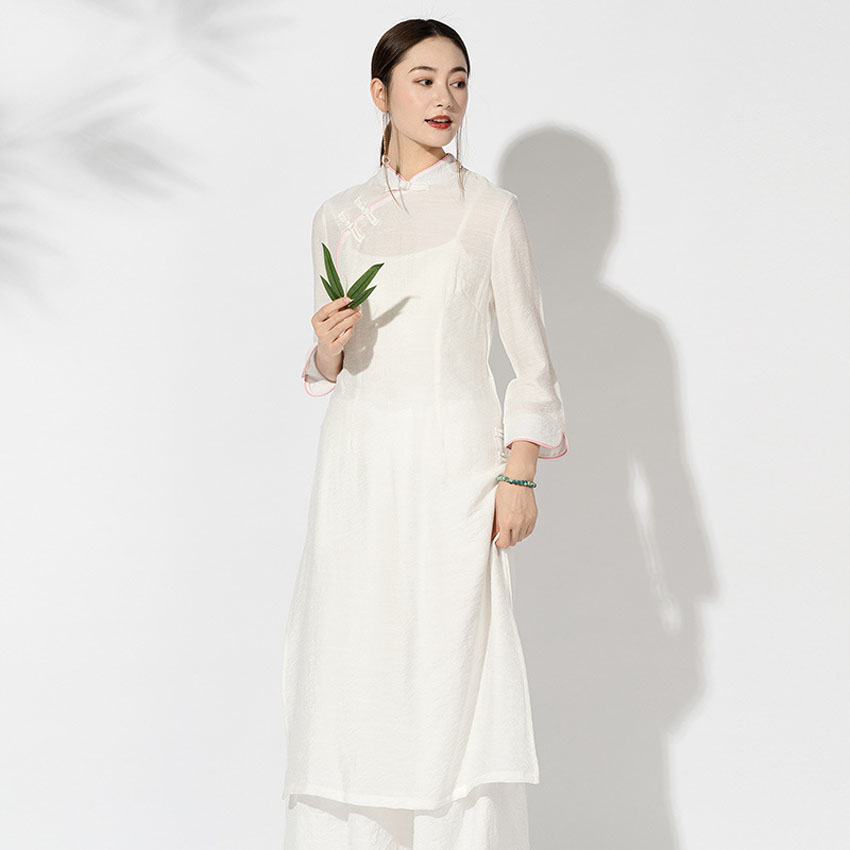 Woman Vintage Oriental Chinese Dress Thin Linen Cotton Outwear Asian Vietnem Ao Dai Solid Full Sleeve Mori Girl Clothing