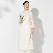 Mujer Vintage Oriental Chino vestido de lino fino de algodón prendas de vestir Asian Vietnem Ao Dai sólido de manga larga Mori Girl ropa