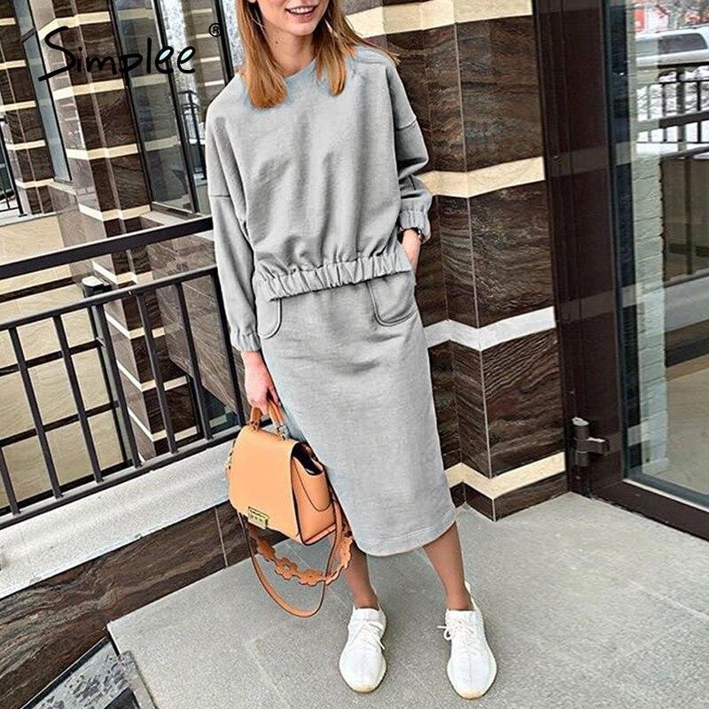 Simplee Drei-stück frauen sport anzug Licht grau hoodie sweatshirt sets High street elegante weibliche casual trainingsanzug 2020
