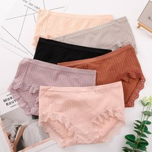 Women Soft Panties Seamless Lace Mid-waist Briefs Fashion Striped High Elastic Panties Underwear striped lace trim panties