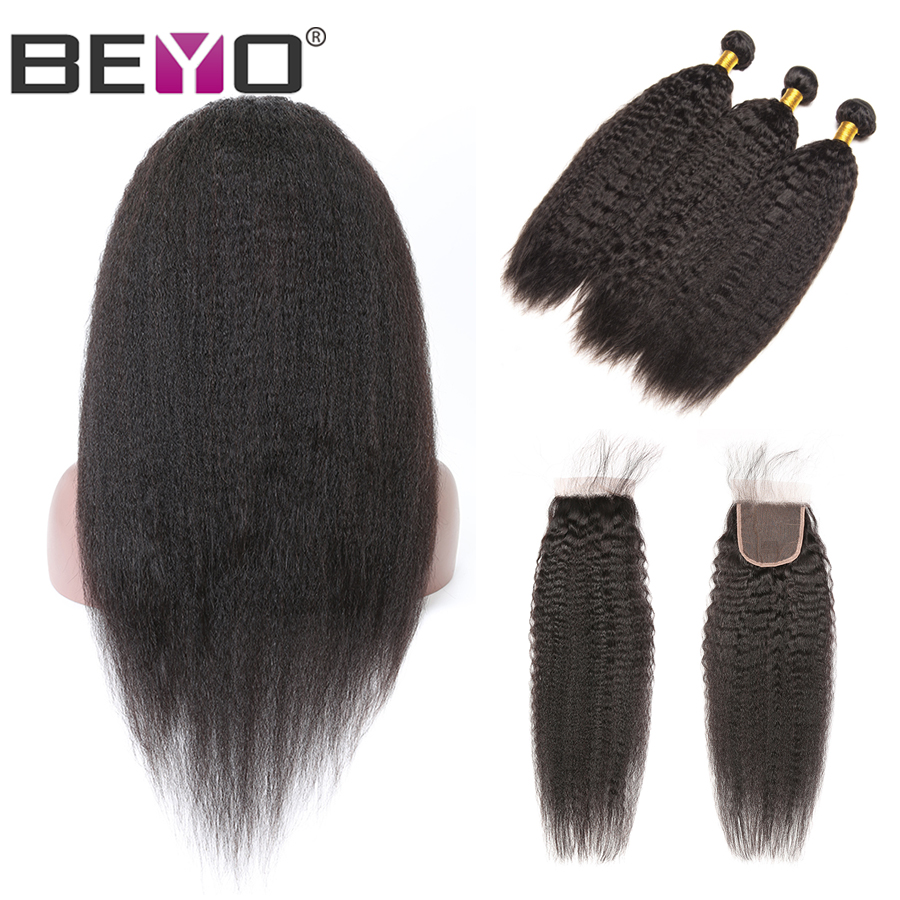 Kinky Straight Wig 300% Density Free Custom Lace Wigs By Brazilian Hair Weave Bundles With Closure Beyo Remy 4X4 Closure Wig