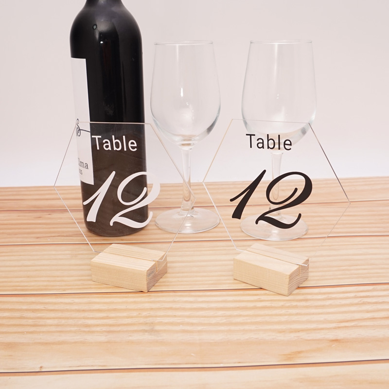 Hexagon Acrylic Board with Wooden Base Table Numbers for Wedding Birthday Party Table Card Baby Shower Decoration