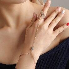 Creative with Finger Circle Bracelet Fashion Personality Rhinestone Hollow Leaf Leaf Ring Conjoined Bracelet Women Charm Jewelry charming rhinestone leaf cross bracelet