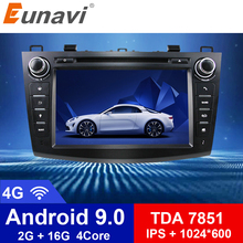 Eunavi 8 HD Screen 2 din Android 9.0 Quad Core Car DVD Player for 2010 2011 2012 2013 MAZDA 3 stereo radio GPS Navigation wifi