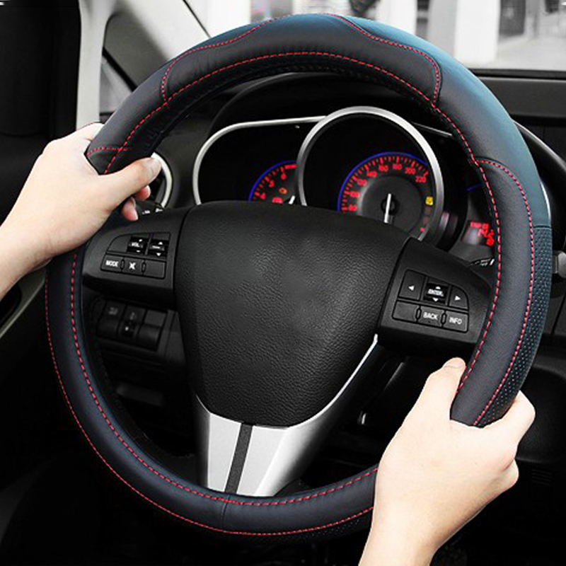 Leather Car Steering Wheel Cover Case For <font><b>Mazda</b></font> 2 3 6 Axela Atenza Demio <font><b>CX</b></font>-3 <font><b>CX</b></font>-<font><b>5</b></font> CX5 <font><b>CX</b></font> <font><b>5</b></font> <font><b>CX</b></font>-7 <font><b>CX</b></font>-9 <font><b>2017</b></font> 2018 2019 Accessories image