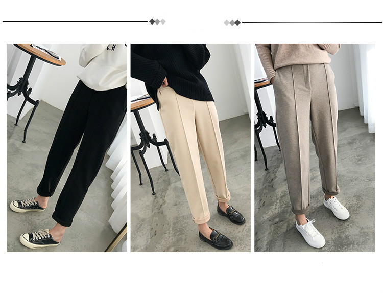 H17e449ca328d40bfbc36287a1ccba3f7p - Thicken Women Pencil Pants Autumn Winter Plus Size OL Style Wool Female Work Suit Pant Loose Female Trousers Capris 6648 50