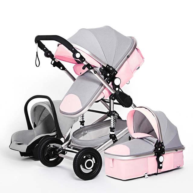 Luxuoso carrinho de bebê 3 em 1 genuíno portátil carrinho de bebê dobrável carrinho de bebê quadro de alumínio alta paisagem para o bebê recém-nascido 3