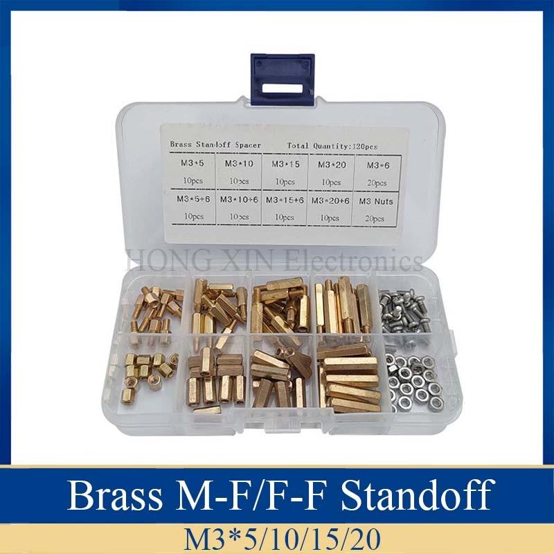 Купить 120pcs/m3 brass standoff pcb threaded female spacer board hex