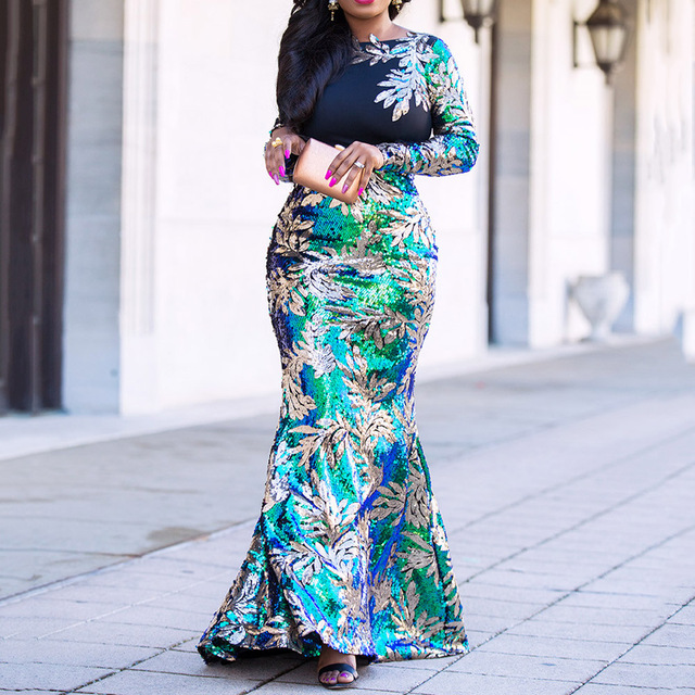 Vintage Green Long Sleeve Mermaid Sequins Dress Sparkly Elegant Plus Size Shiny Party Evening African Long Dresses for Women 2