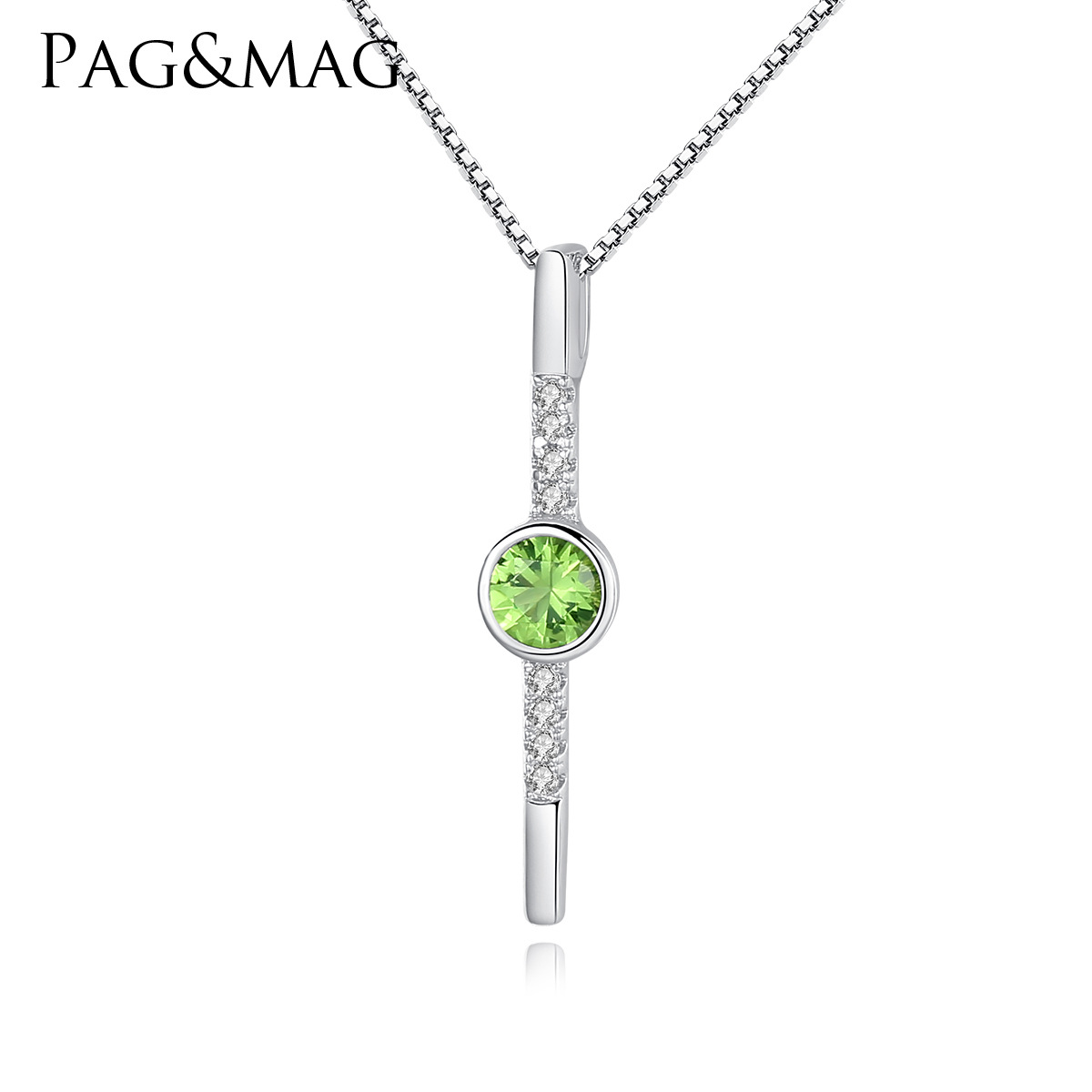 PAG-MAG S925 Sterling Silver Necklace Japanese-South Korean Simple Green Crystal Set 3A Zircon Women's Money Trim(China)