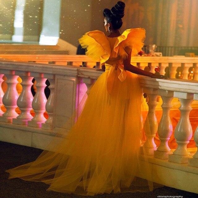 Puffy Prom Dresses vestido de fiesta Photography Shoot Ruffle Yellow Formal Prom Dresses Tulle Detachable Skirt Robe De Soiree 4