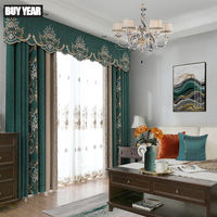 European Style Garden Curtains for Living Room Windows Luxury Drapes Embroidered Curtains for Bedroom Valance Curtain