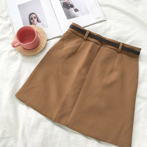 Image 4 - חצאיות נשים רטרו מוצק אלגנטי קוריאני סגנון גבוה מותן נשים כל התאמה רך גבירותיי קיץ שיק לנשימה כיסי חצאית 2020