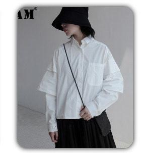 [EAM] 2019 Spring Plus Size Long Shirts Women Blouses Long-sleeve White Loose Tops Black White Cotton Shirt Big Size C006111 31