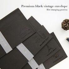 5 шт/лот бумажные конверты karft Черные Декоративные с горячей