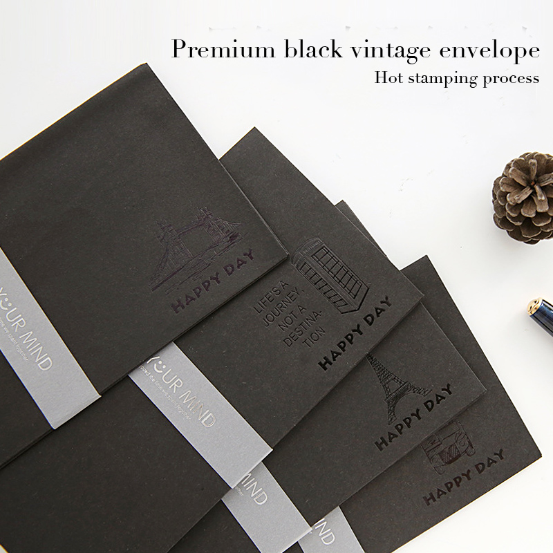 5pcs/lot Karft Paper Envelopes Black Hot Stamping Decorative Envelopes For Invitations Simple Vintage Business Envelopes Gifts