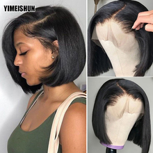 Short Bob Wigs Closure Human-Hair-Wigs Lace-Frontal Pre-Plucked 13x4 HD with Bangs 4x4