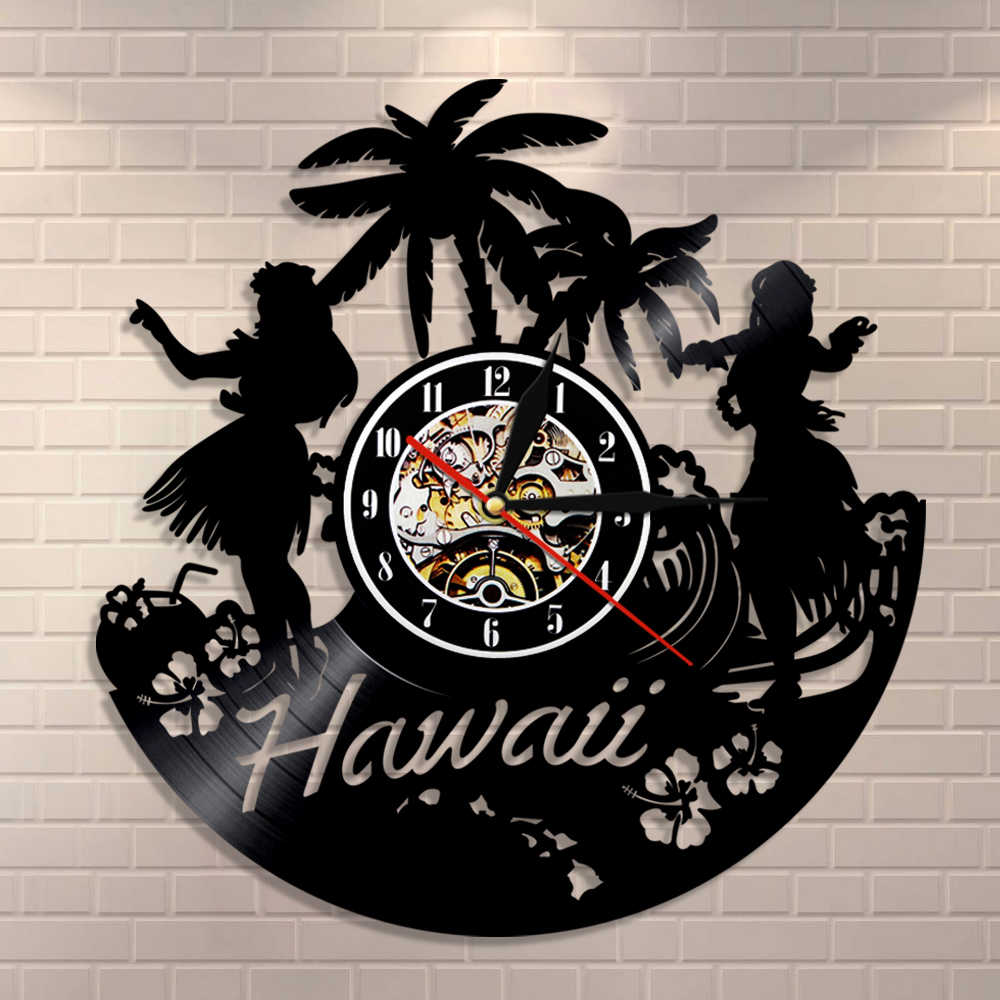Hawaii Wall Clock Hawaiian Luau Party Wall Art Home Decor Vinyl Record Clock Hawaiian Beach Palm Scenery Vintage Summer Ornament