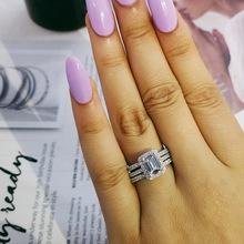 925 Sterling srebrne wesele zestaw pierścieni 3 w 1 band pierścień dla kobiet zaręczyny biżuteria dla nowożeńców finger czarny piątek R1997xs tanie tanio moonso ROUND CN (pochodzenie) Zestawy dla nowożeńców Cyrkon Ślub 925 sterling Prong ustawianie SILVER Kobiety Klasyczny