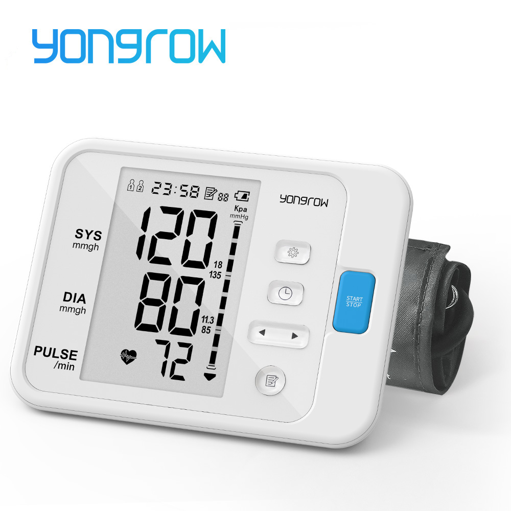 Yongrow Portable Digital Upper Arm Blood Pressure Monitor Measurement Tool Portable LCD Digital 1 Pcs Tonometer Sphygmomanometer