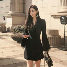 2019 Modis Designer Brand Runway Dress Women Singer Button Black Mini Dress Women Lace Patchwork Flare Sleeve White Blazer Dress(China)