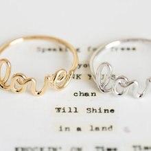 Anillo de amor de moda Oly2u, bonitos anillos con letras para mujeres, niñas, joyería de Boda nupcial, anillo Simple de amistad, regalo de novia, femenino