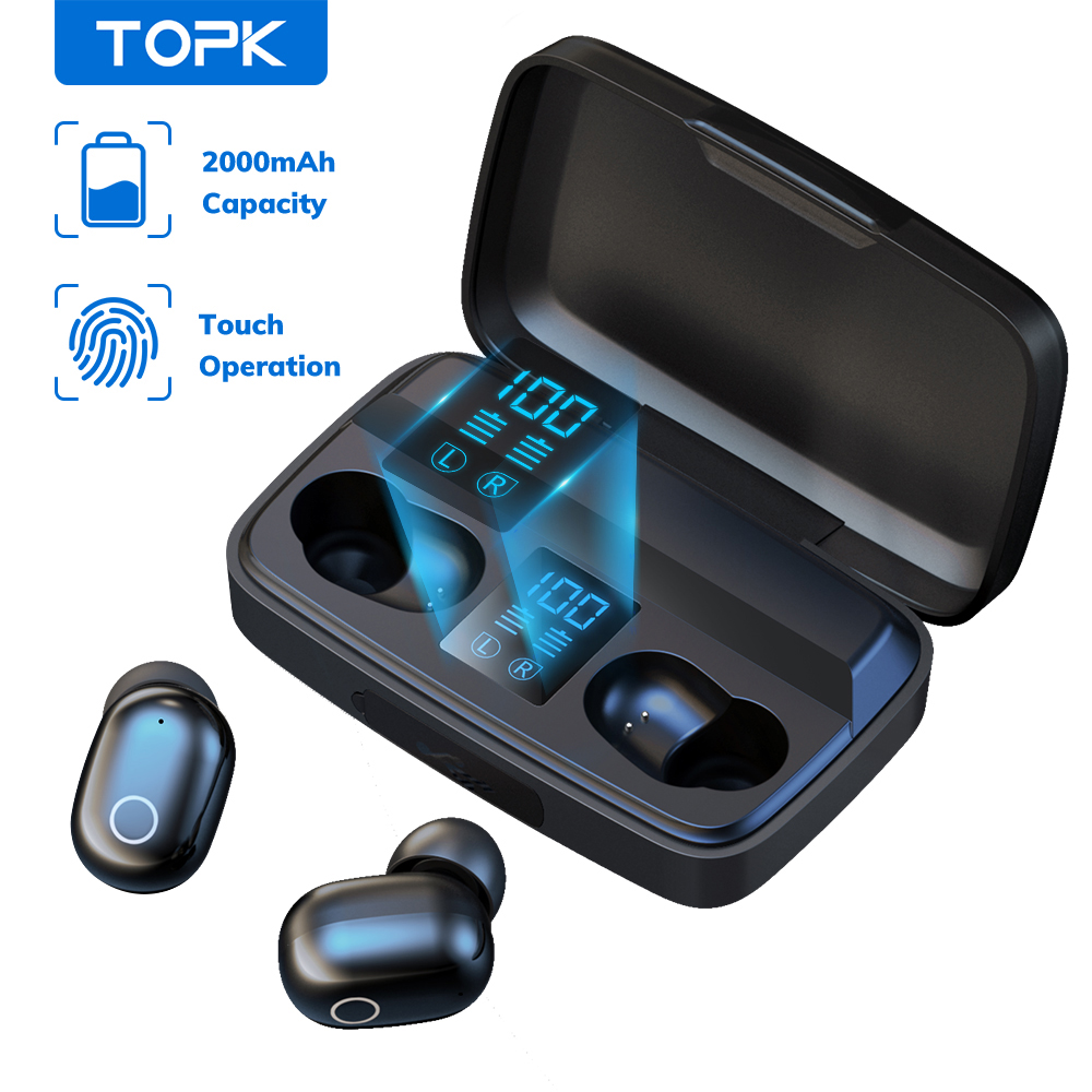 TOPK T10 Wireless Bluetooth Headphones V5 0 Fingerprint Touch Control Bluetooth Earphones with microphone 2000mAh Charging Box
