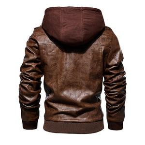 Image 2 - Inverno jaqueta de couro da motocicleta com capuz jaqueta de lazer quente dos homens casaco de couro do plutônio M 5XL