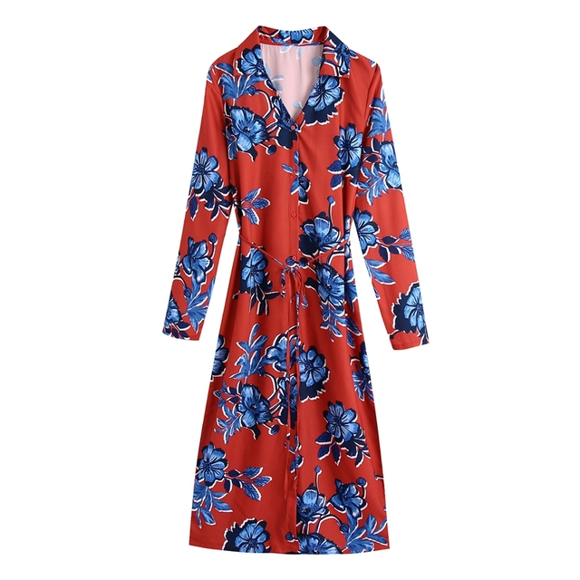 Tangada 2021 Autumn Fashion Women Red Flowers Print Elegant Midi Dress Long Sleeve Office Ladies Dress BE375 7