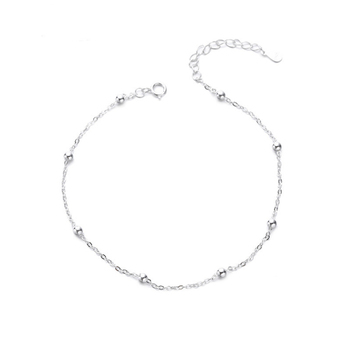 925 Sterling Silver Anklets For Women Transfer Beads Adjustable Foot Anklet Bracelet Leg Chain Foot Jewelry Woman Shoes Luxury 1