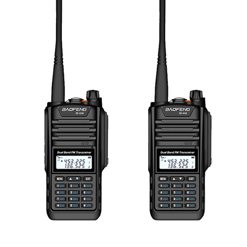 2 Pcs Walkie Talkie Baofeng BF-A58 Two Way Radio IP68 Waterproof Dual Band VHF UHF 128CH Handheld Ham CB Radio FM Transceiver
