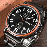 BOBOBIRD Männer Uhr Holz Datum Display Luxus Stilvolle Business Uhren Leucht Hand Chronograph erkek kol saati V S26-in Quarz-Uhren aus Uhren bei