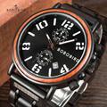 Reloj BOBOBIRD para hombre, reloj con fecha de madera, relojes de lujo elegantes para negocios, cronógrafo de mano luminoso erkek kol saati V-S26