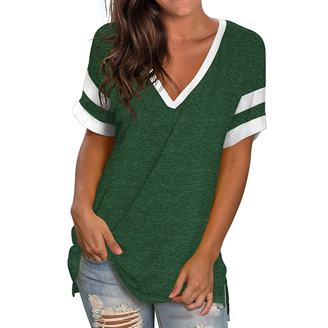 Green T Shirt Casual V-neck Plus Size 3XL Short Sleeve T-shirt Soft Ladies Summer Tops For Women 2021 Tshirts Camisetas Mujer 1
