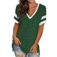 Verde T camisa Casual con cuello en V de talla grande 3XL Camiseta de manga corta de Mujer Tops de verano para mujeres 2021 Camisetas, Camisetas de Mujer