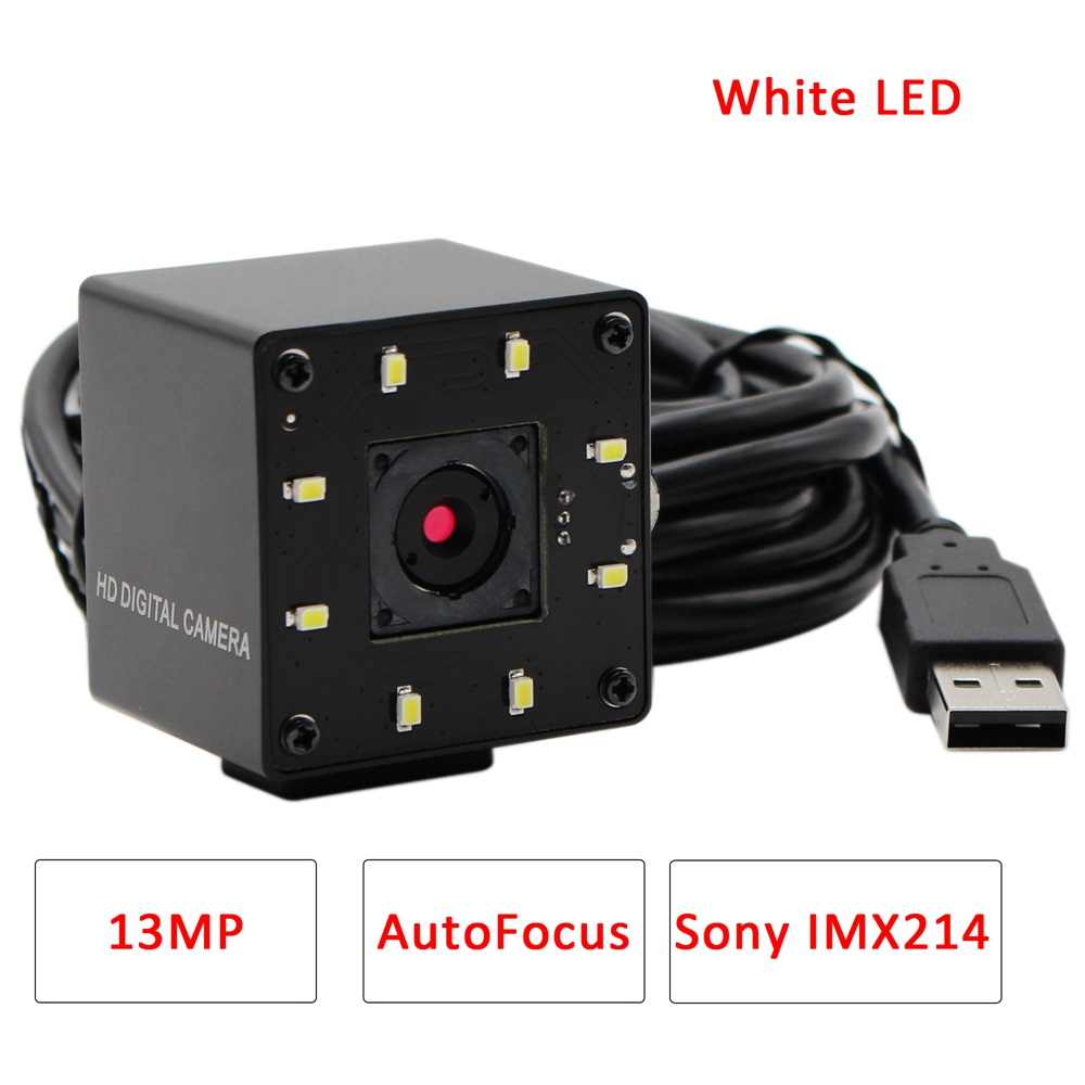 13MP MJPEG 10fps 3840x2880 Sony IMX214 Autofocus USB Camera White LED For Day& Night