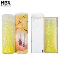 Nbx quicksand translúcido criativo multifuncional caso cilíndrico papelaria caneta rack newmebox ouro movido 2019 ipen lápis caixa|Porta-caneta| |  -
