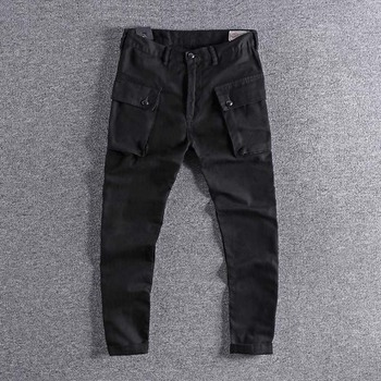 Japanese retro overalls, big pockets, comfortable and self-cultivating overalls, straight cylinder overalls men's casual pants