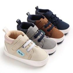 Для новорожденных милый для маленьких мальчиков и девочек из плотной ткани с буквенным принтом, для тех, кто только начинает ходить мягкая