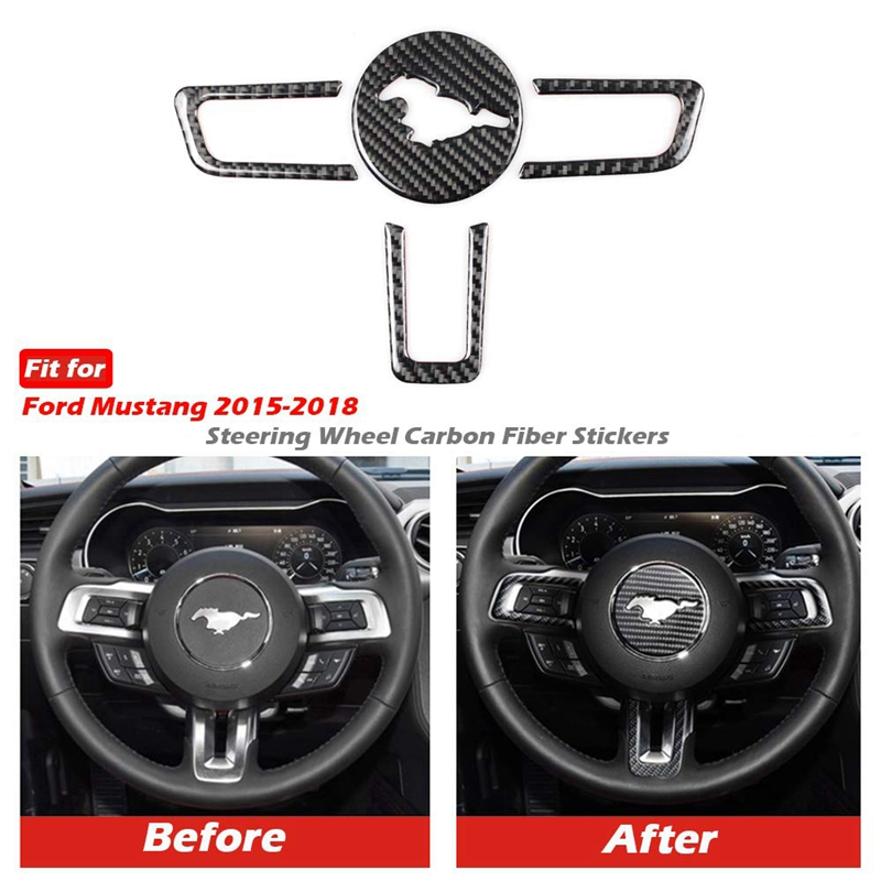 Real Carbon Fiber Steering Wheel Insert Decoration Cover Emblem Sticker for Ford Mustang 2015-2017 4Pcs