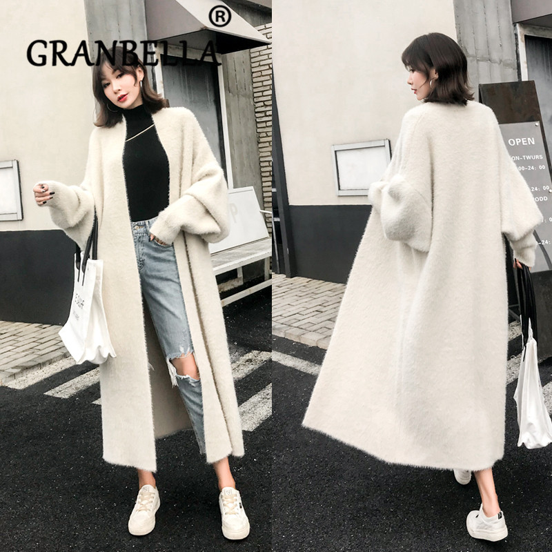 Winter Loose Faux Mink Velvet Woolen Sweater  For Women Plus Size Solid White Color Knitted Cardigan Casual Female Overcoat
