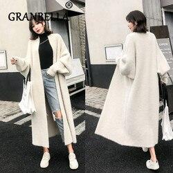 Winter Lose Faux Nerz Samt Woolen Pullover Für Frauen Plus Größe Solide Weiß Farbe Strickjacke Casual Weibliche Mantel
