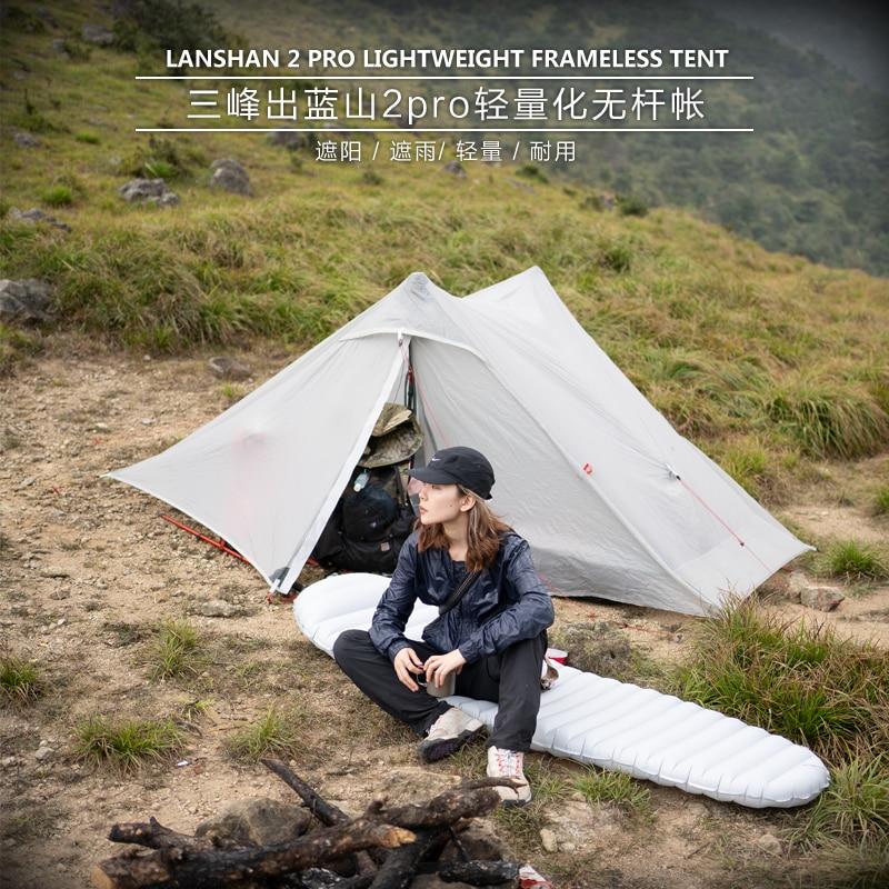 2019 Lanshan 2 Pro 3F UL เกียร์ 2 คน Outdoor Ultralight Camping เต็นท์ 3 ฤดู 20D ไนลอนทั้งสองด้านซิลิคอน Rodless เต็นท์