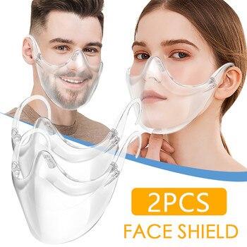 2pcs Transparent Mouth Caps Durable Mask Face Combine Plastic Reusable Clear Protective Mascarillas Mask#E