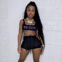 Simenual-conjunto deportivo con estampado de letras para mujer, camiseta sin mangas y pantalones cortos de malla transparente, ropa de dos piezas