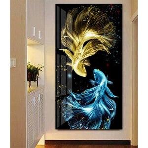 Youran diy pintura diamante ponto cruz luz carpa de luxo contas sonhadoras kit bordado peixe animal quarto arte da parede decoração casa