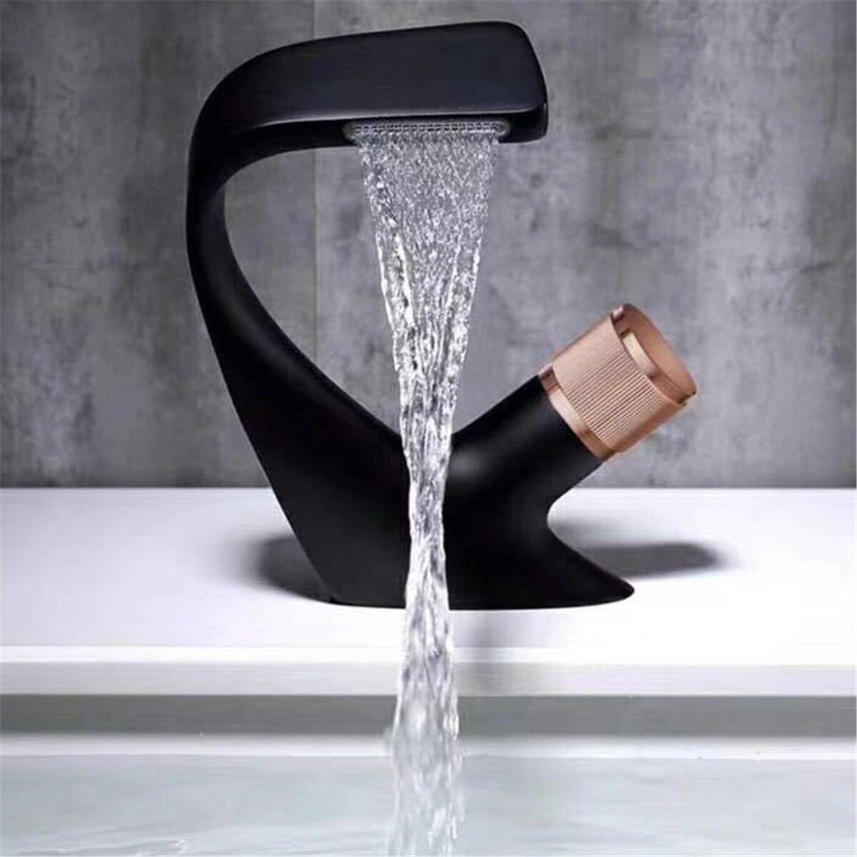 H17e6352cc0414d24bfea9bdb6890347cF Black Faucet Bathroom Sink Faucets Hot Cold Water Mixer Crane Deck Mounted Single Hole Bath Tap Chrome Finished