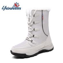 YEINSHAARS 35-42 kobiet buty pluszowe ciepłe buty na śnieg damskie zimowe buty do połowy łydki wodoodporne śnieg Botas na zamek błyskawiczny ciepłe buty tanie tanio Plush Pasuje prawda na wymiar weź swój normalny rozmiar Okrągły nosek RUBBER Zima Lace-up Futro Mieszkanie (≤1cm)