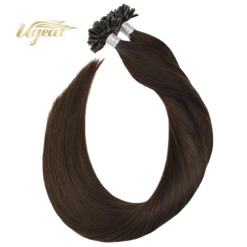 Ugeat Human Hair Extensions Nail Tip Hair Extensions 14-24 Inch Brown Human Straight HairU Tip Hair Non-Remy Hair 50-100G