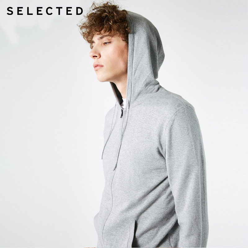 SELECTED Mens Autumn Winter Pure Color Hooded Zip-through Knit Cardigan Sweater |418324533